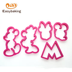 Set van 5 Keuken Accessoires Plastic Cartoon Mickey Mouse Biscuit Cookies Cutter