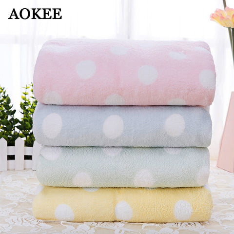 Soft Terry Bath Towels Quality Thick AbsorbentAOKEE 75*150cm Dot Quick-Dry Bath Microfiber Towels for Adults Beach Towel