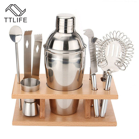 8 stks Cocktail Shaker Set 350 ml Professionele Rvs Cocktail Maker Jigger Ice Zeef Clip Lepel Bar Gereedschap Set   TTLIFE