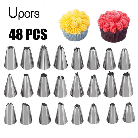 UPORS 48 Stks Professionele Pastry Nozzles Icing Nozzles Rvs Metalen Crème Russische Piping Tips Cake Decorating Gereedschap   MyXL