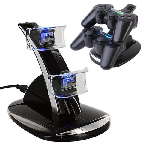 Usb led dual charger controller dock station charger stand opladen voor playstation voor sony ps3 draadloze controller