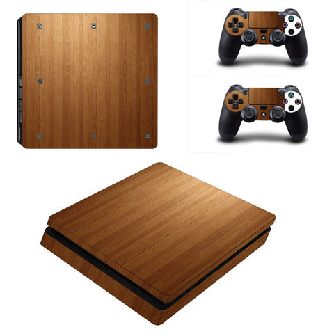 Vinyl game beschermende huid sticker voor playstation 4 decal cover sticker voor ps4 gaming console 2 controller houtnerf serie   MyXL
