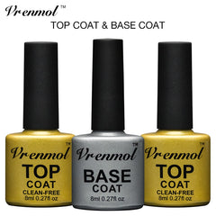 Vrenmol Langdurige Geen Schoon Gel Polish Top Base Coat Gel vernis Het Af + Base Coat Foundation Transparante Gel Lak