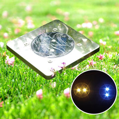 Garden Square 2 LED Solar Power Ground Light Outdoor Patio Lawn Waterproof Lamp