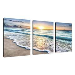 Strand Canvas Wall Art Zonsondergang Zand Oceaan Zee Golf 3 Panel Home Picture Decor Schilderijen