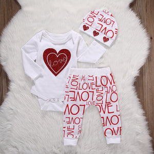 3pcs Heart Romper & Love Print Pants Set