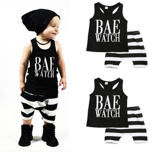 """Bae Watch"" Tank Top & Striped Short Set"