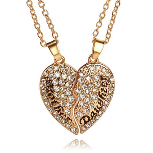 2pcs Mother & Daughter Crystal Heart Pendants