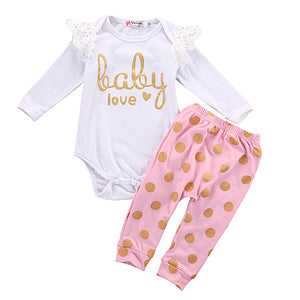 3pcs Baby Love Romper & Golden Dots Pants Set
