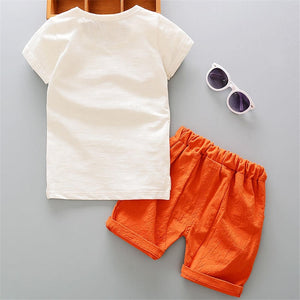 White Cartoon Shirt & Short Set