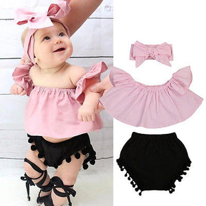3pcs Pink Off Shoulder Top & Shorts Set