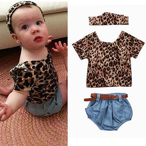 3pcs Leopard T-Shirt & Shorts Set
