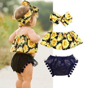3pcs Newborn Floral Set