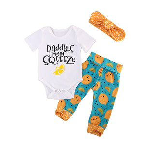 "3pcs Cute ""Daddy's squeeze"" Clothing Set"