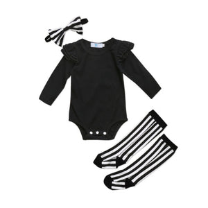 3pcs Long Sleeve Bodysuit & Leg Warmers Set