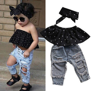 3pcs Dot Sleeveless Top & Hole Denim Pants Set
