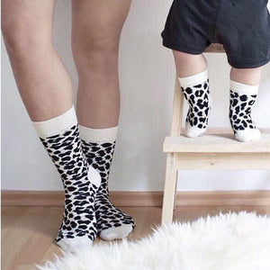 Leopard Printed Unisex Long Cotton Socks