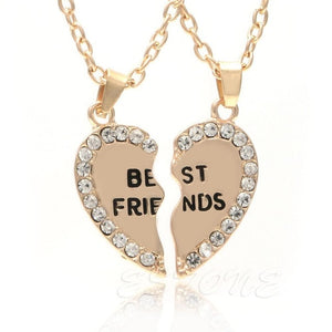 2pcs Half Heart Rhinestone Pendant Necklace