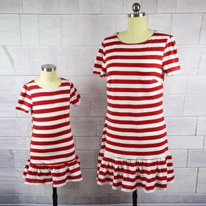 Short Sleeve White & Red Striped Dresses