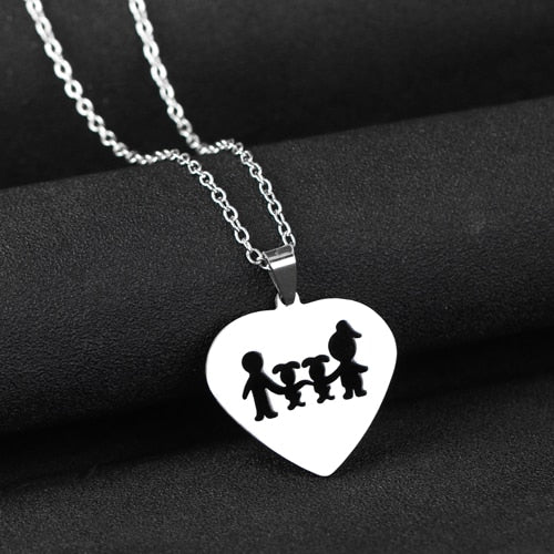 Family (2 children) Heart Necklaces