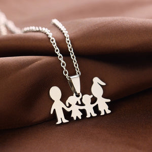 Family (2 children) Love Necklaces