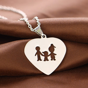Family (1 child) Heart Necklaces