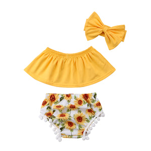 3pcs Summer Off Shoulder Top & Flower Short Set