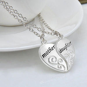 2pcs Silver Mother & Daughter Heart Pendant