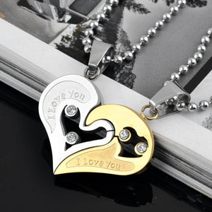 2pcs Heart Stitching Pendant Necklace