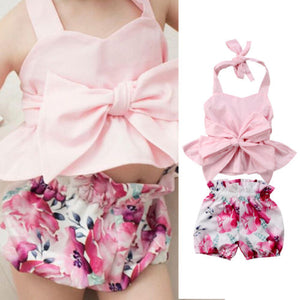 Bow-knot Tops & Floral Shorts Set