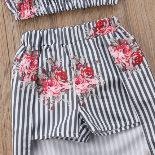 Flower Print Top & Long Skirt Set