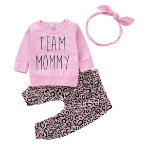 "3pcs ""Team Mommy"" Pink Top & Leopard Pants Set"