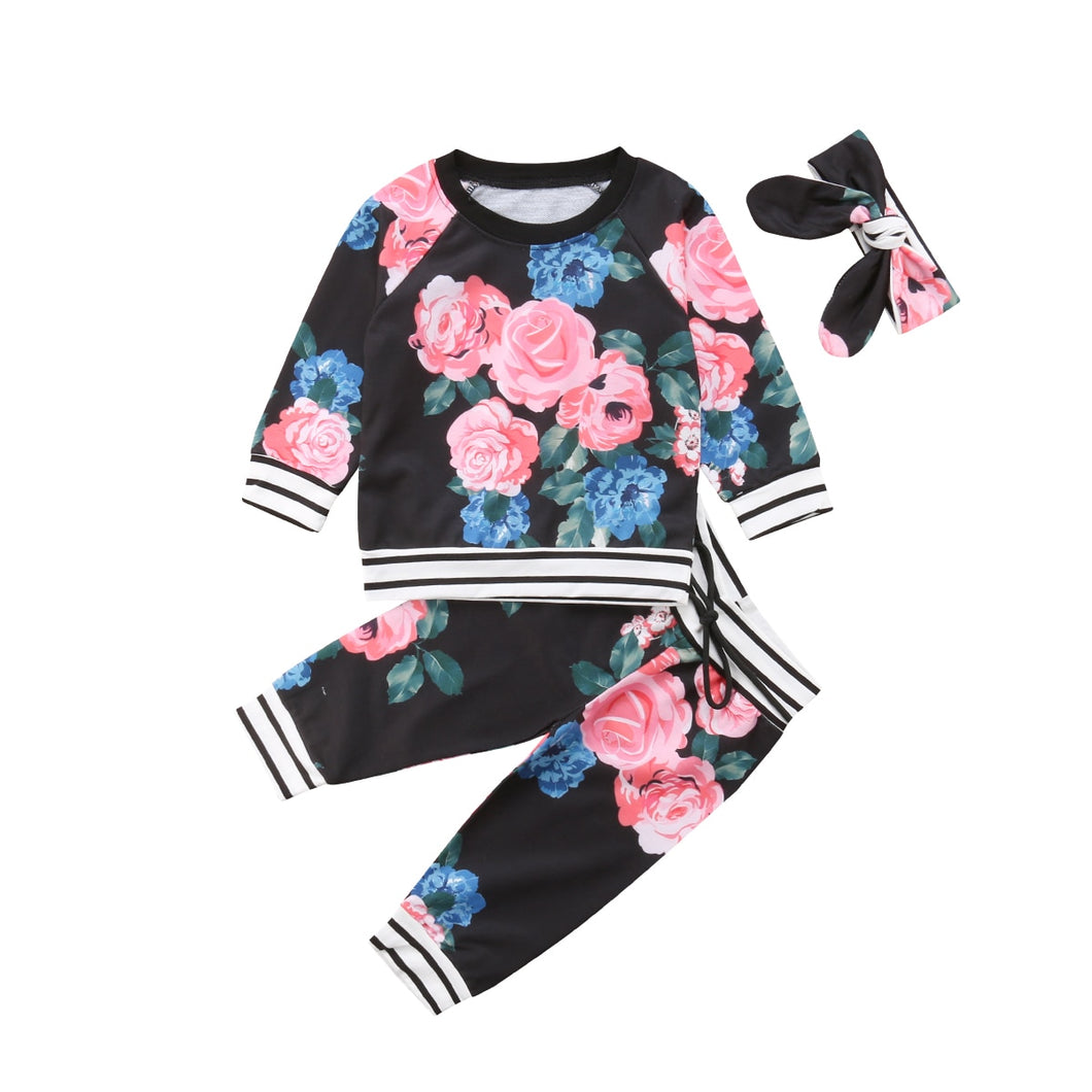 3pcs Warm Floral Top & Pants Set