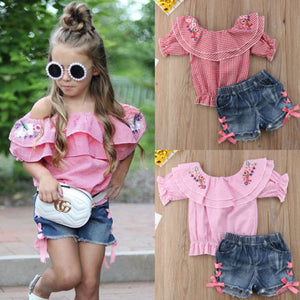 Flower Top & Denim Shorts Set