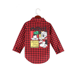 Cartoon Red Plaid Long Shirts