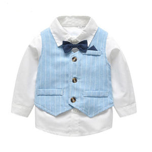 Baby Boy Gentleman White & Blue Suit
