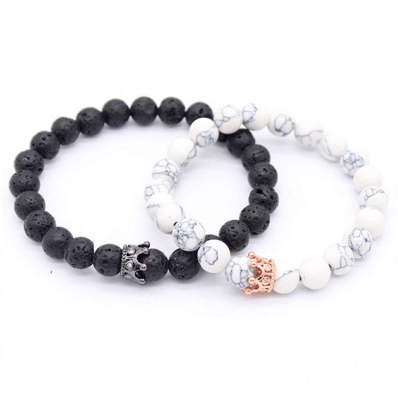 King & Queen Natural Stone Beads Bracelets