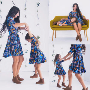 Blue Long Sleeve Floral Dresses