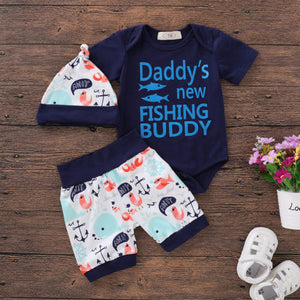 "3pcs ""New Fishing Buddy"" Clothing Set"