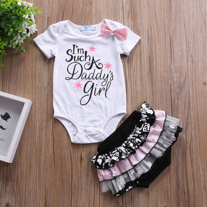 2pcs Daddy's Girl Bodysuits & Lace Short Set