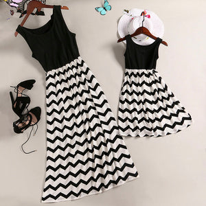 Long Sleeveless Striped Dresses