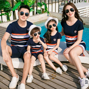 Tricolor Striped Matching T-shirts