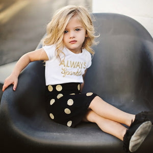 2pcs Dot T-shirt & Skirt Set