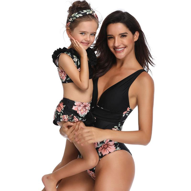 Black Floral Swimsuits