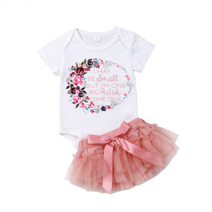 2Pcs Floral Romper & Tutu Skirt Set