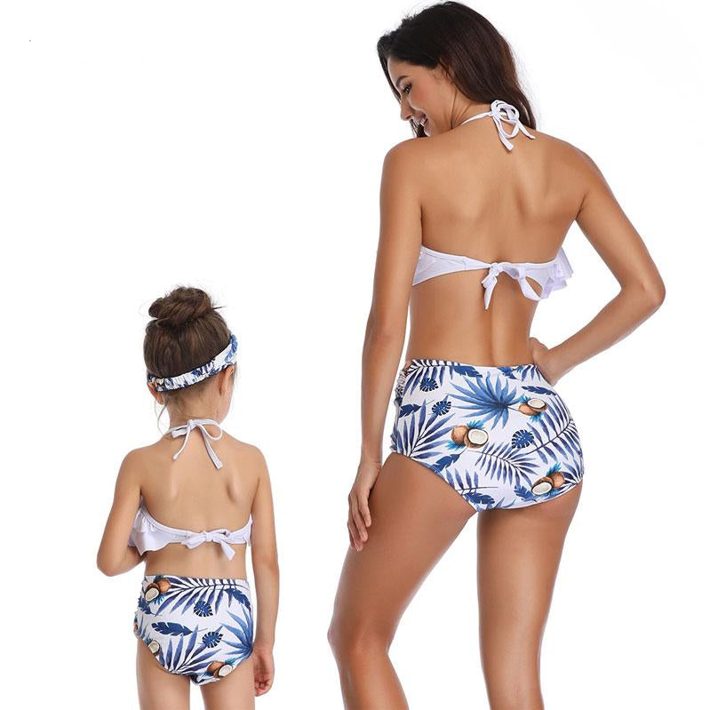 High Waist Blue Coco Nuts Bikinis