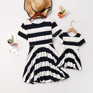 Short Sleeve Black & White Striped Dresses