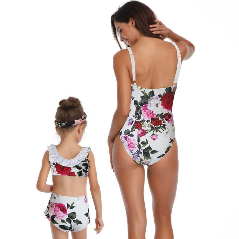 Bow Tie Roses One-Piece Swimsuits