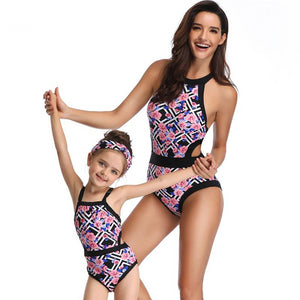 Black & Pink Squared One Piece Swimsuits