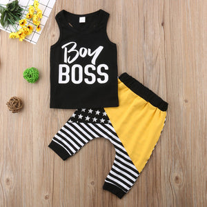 Sleeveless Black Top & Striped Patchwork Pants Set